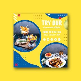 Modèle de carte carrée pour un restaurant dans le style de memphis