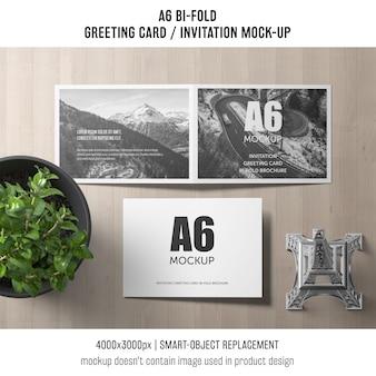 Modèle de carte d'invitation a6 bi-fold avec plante