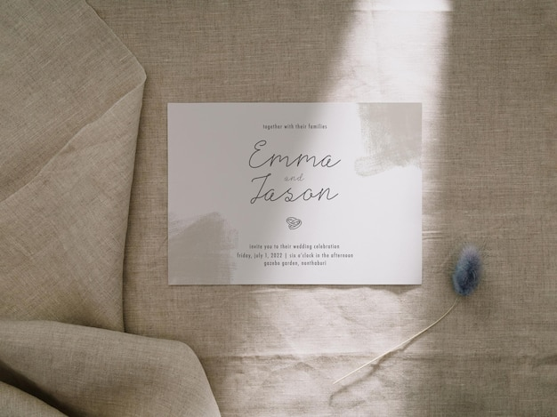 Modèle de carte d'invitation, maquette de carte de mariage, maquette de papeterie minimaliste 5 x 7.