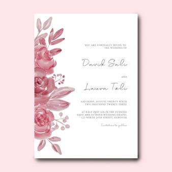 Modèle de carte d'invitation de mariage avec décoration florale à l'aquarelle