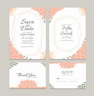 Modèle de carte d'invitation de mariage avec des décorations de cadre floral aquarelle