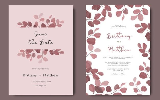 Modèle de carte d'invitation de mariage avec modèle de feuilles d'eucalyptus aquarelle