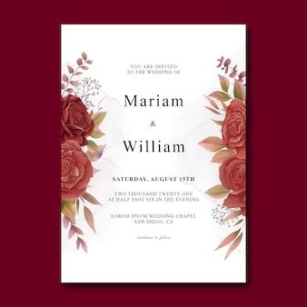 Modèle de carte d'invitation de mariage avec des roses rouges aquarelles
