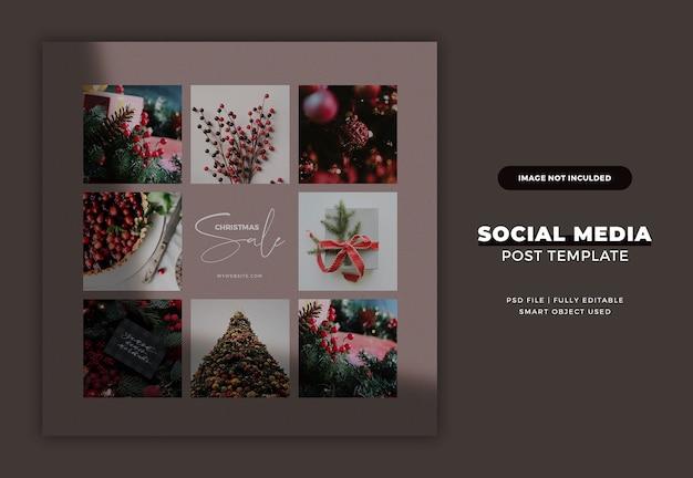 Modèle de carte postale ou de bannière instagram de noël
