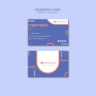 Modèle de carte de visite avec concept d'événement commercial