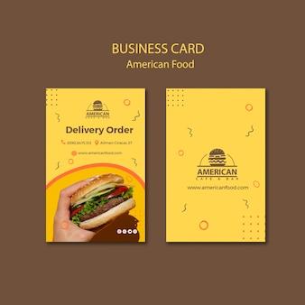 Modèle de carte de visite avec cuisine américaine