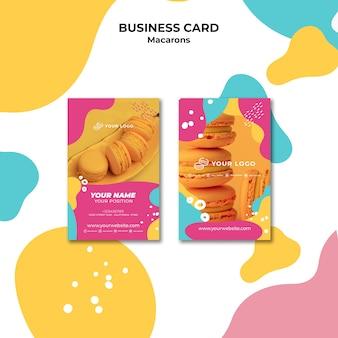 Modèle de carte de visite de délicieux macarons sucrés