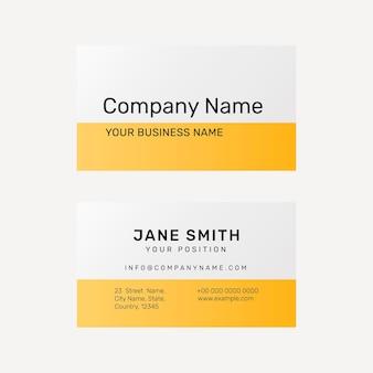 Modèle de carte de visite dynamique psd en jaune