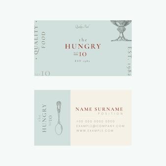 Modèle de carte de visite esthétique psd pour restaurant, remixé à partir d'œuvres d'art du domaine public