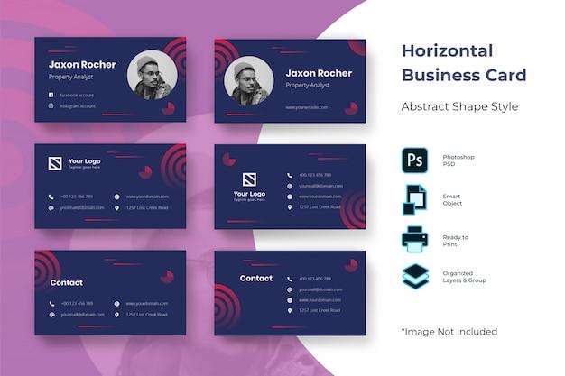 Modèle de carte de visite horizontale abstraite