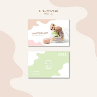 Modèle de carte de visite de macarons dans un pot