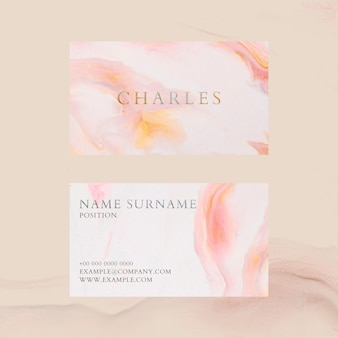 Modèle de carte de visite en marbre psd dans un style féminin coloré