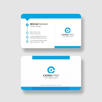 Modèle de carte de visite propre et bleu