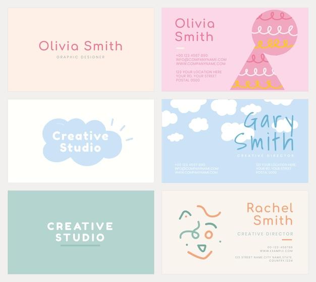 Modèle de carte de visite psd défini dans des motifs de couleurs pastel douces
