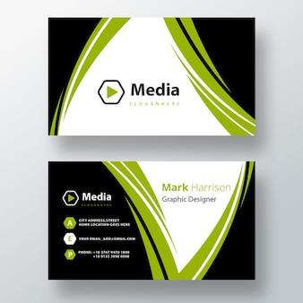 Modèle de carte de visite psd de forme verte