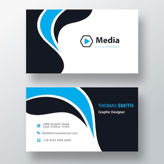 Modèle de carte de visite psd ondulé bleu