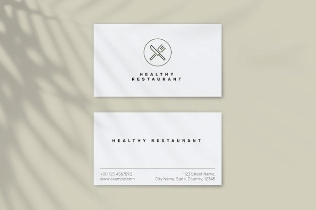Modèle de carte de visite de restaurant psd en vue avant et arrière