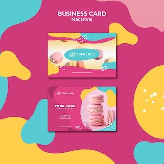 Modèle de carte de visite de tas de macarons roses