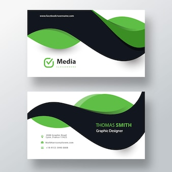Modèle de carte de visite vert et noir