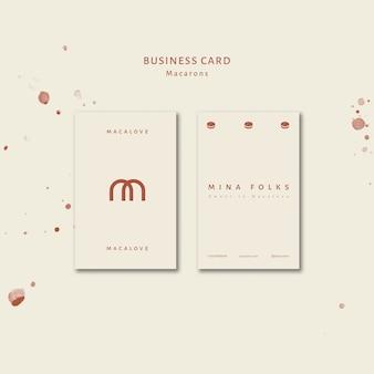 Modèle de carte de visite verticale de boutique de macarons