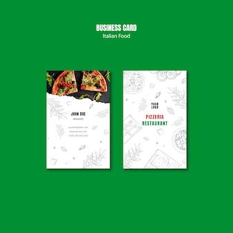 Modèle de carte de visite verticale de cuisine italienne