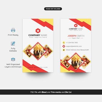 Modèle de carte de visite verticale pour restaurant