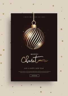 Modèle de carte de voeux joyeux noël et bonne année 2020