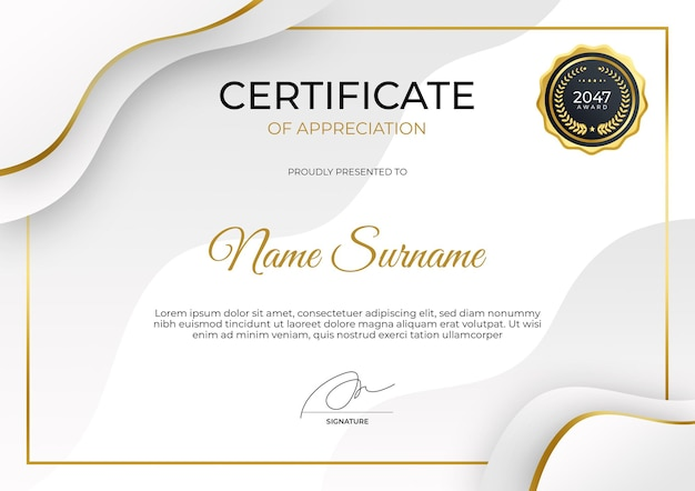 Modèle de certificat d'appréciation moderne