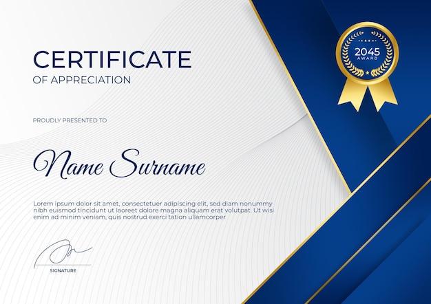 Modèle de certificat d'appréciation en or bleu moderne