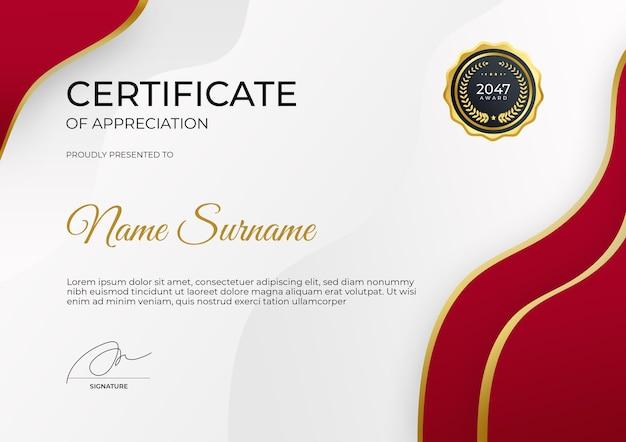 Modèle de certificat d'appréciation en or rouge moderne costume pour entreprise de récompense et éducation