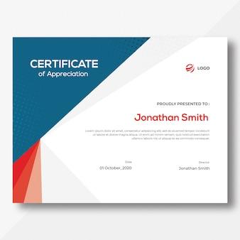 Modèle de certificat bleu et rouge