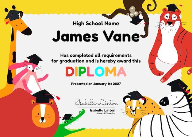 Modèle de certificat coloré mignon psd dans la conception de safari pour les enfants