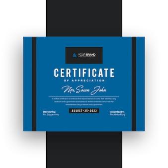 Modèle de certificat moderne dégradé bleu