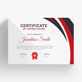 Modèle de certificat moderne avec détails rouges