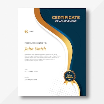Modèle de certificat d'ondes verticales