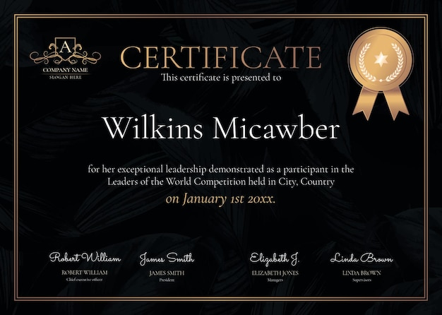 Modèle de certificat ornemental de luxe psd en noir et or