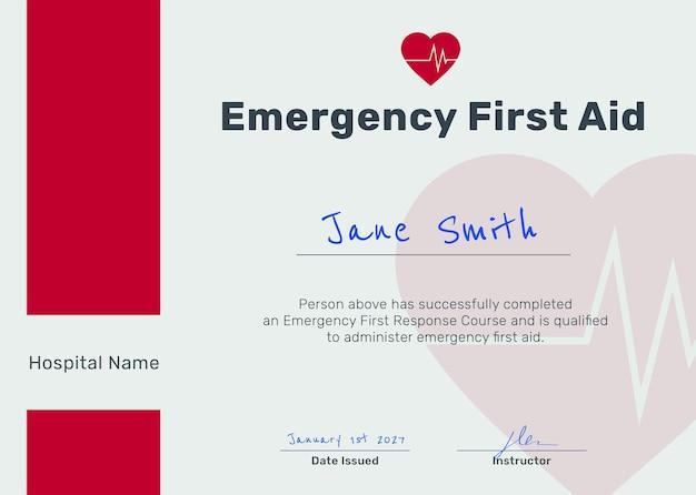Modèle de certificat de premiers secours psd en rouge et blanc