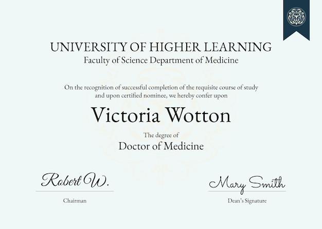 Modèle de certificat de récompense professionnelle psd au design classique