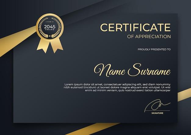 Modèle de certificat de réussite moderne noir et or peut être utilisé pour le webinaire de cours en ligne se