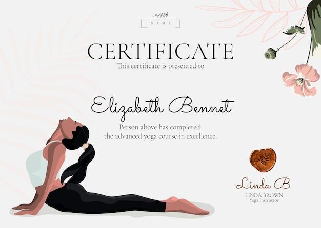 Modèle de certificat de yoga floral psd dans un style féminin