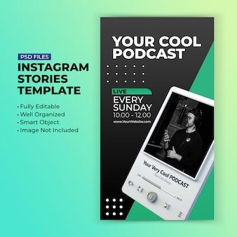 Modèle de chaîne de podcast pour la promotion des histoires de médias sociaux