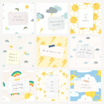 Modèle de citation gai devis psd avec des dessins météorologiques mignons ensemble de publications sur les médias sociaux