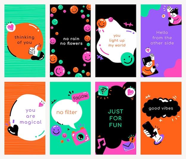 Modèle de citation de médias sociaux psd dans un style coloré
