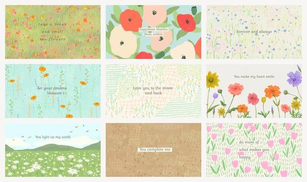 Modèle de citation de motivation modifiable psd sur l'ensemble d'arrière-plans de la flore