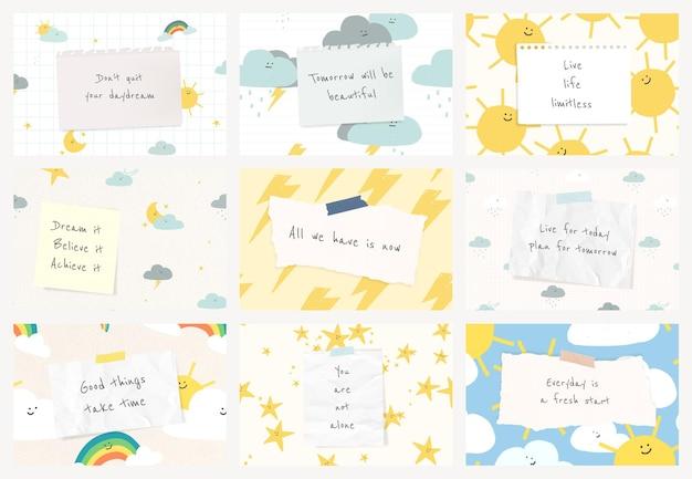 Modèle de citation de motivation psd avec ensemble de bannières de doodle météo mignon