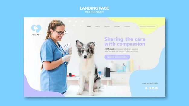 Modèle de clinique vétérinaire de page de destination