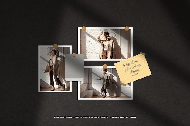 Modèle de collage créatif moodboard et photo