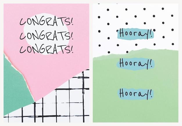 Modèle de collage de papier esthétique psd pour carte d'invitation