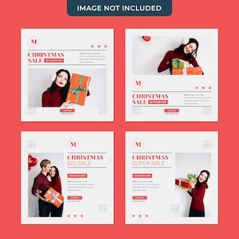 Modèle de collection de publications de médias sociaux minimalistes de vente de noël
