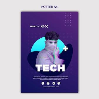 Modèle de concept d'affiche tech & future